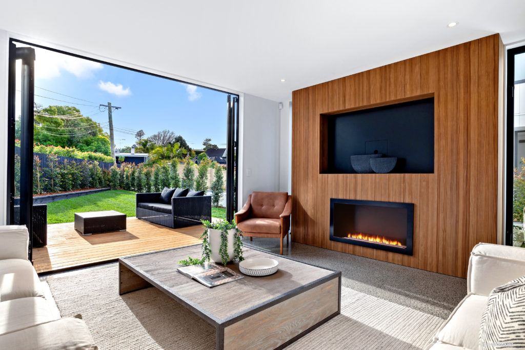 Open plan living area of north facing Auckland home